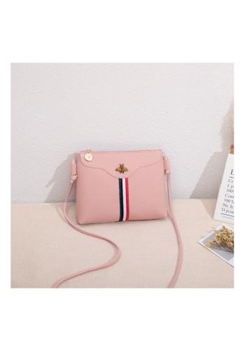 Dámská mini kabelka s kontrastním pásem v růžové barvě