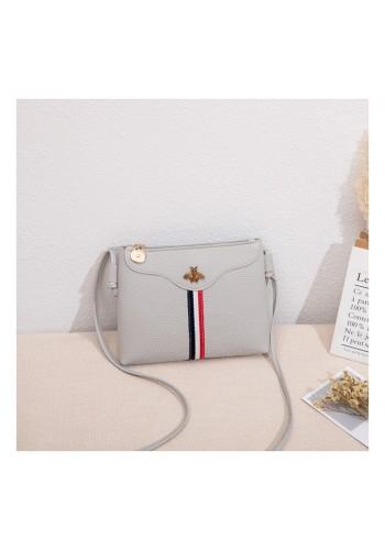 Šedá mini kabelka s kontrastním pásem pro dámy