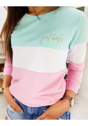 Dámská stylová mikina s výšivkou GIRL BOSS v mátové barvě