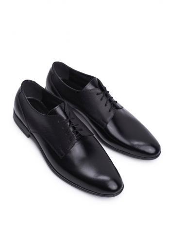 Černé elegantní kožené polobotky pro pány