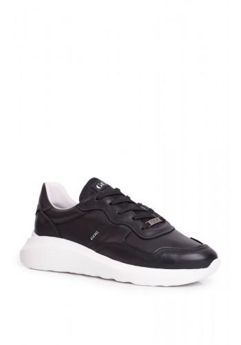 Černé kožené sportovní tenisky pro pány
