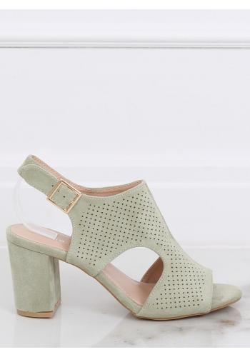Zelené dírkované sandály na širokém podpatku pro dámy