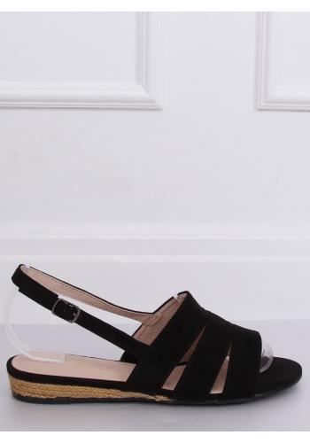 Černé semišové sandály s jemným vyvýšením pro dámy
