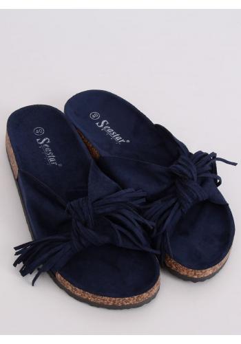 Tmavě modré semišové pantofle s korkovou podrážkou pro dámy