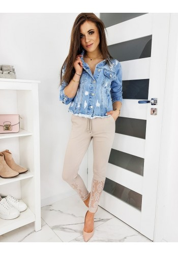 Béžové teplákové kalhoty s krajkou pro dámy