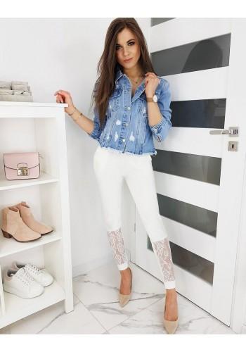 Teplákové dámské kalhoty bílé barvy s krajkou
