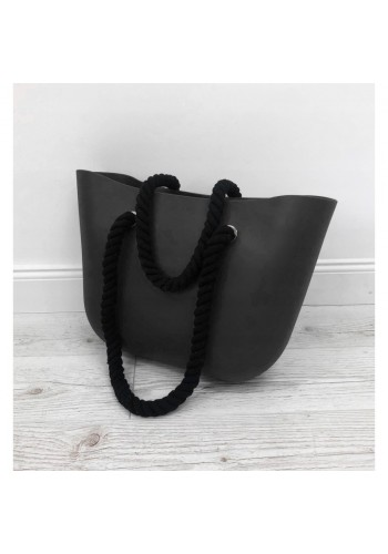 Silikonová dámská kabelka černé barvy s černými rukojeťmi
