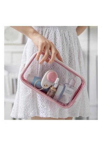 Dámská průhledná kosmetická taška v růžové barvě