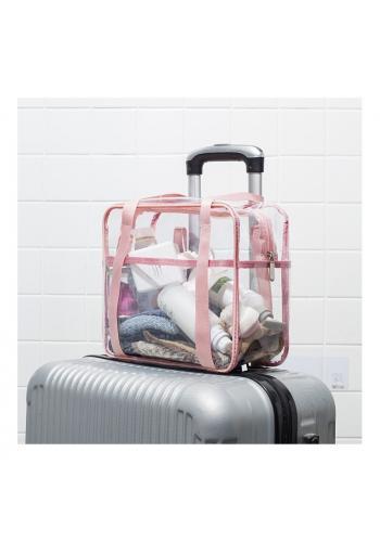 Růžová průhledná kosmetická taška pro dámy
