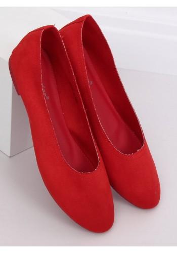 Semišové dámské balerínky červené barvy