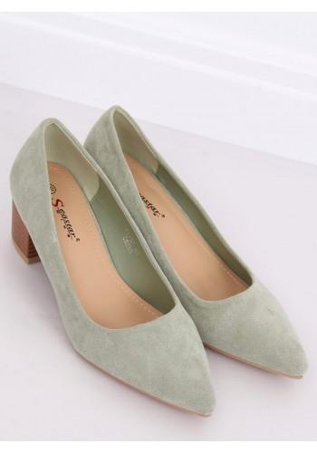 Zelené semišové lodičky na dřevěném podpatku pro dámy