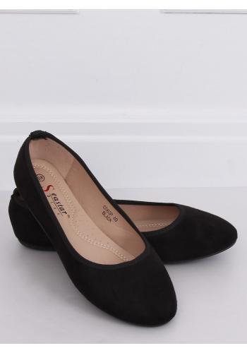 Semišové dámské balerínky černé barvy s kulatými špičkami
