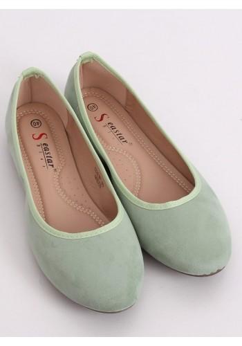 Dámské semišové balerínky s kulatými špičkami v zelené barvě