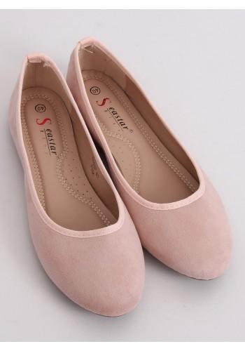 Růžové semišové balerínky s kulatými špičkami pro dámy