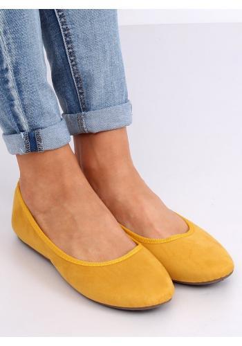 Semišové dámské balerínky žluté barvy s kulatými špičkami