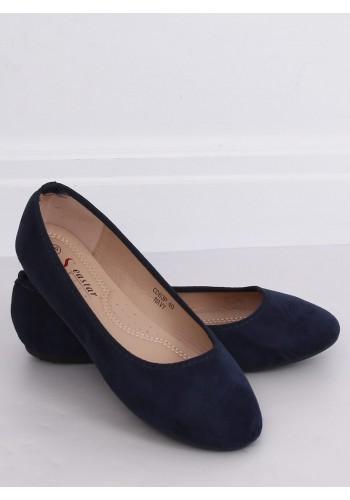 Dámské semišové balerínky s kulatými špičkami v tmavě modré barvě