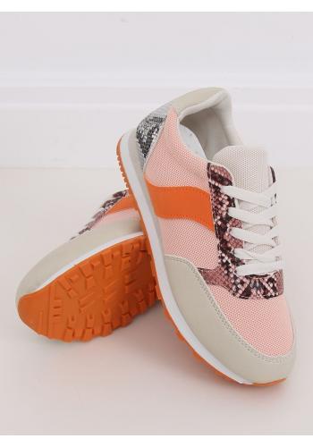 Dámské sportovní tenisky s motivem hadí kůže v růžovo-oranžové barvě