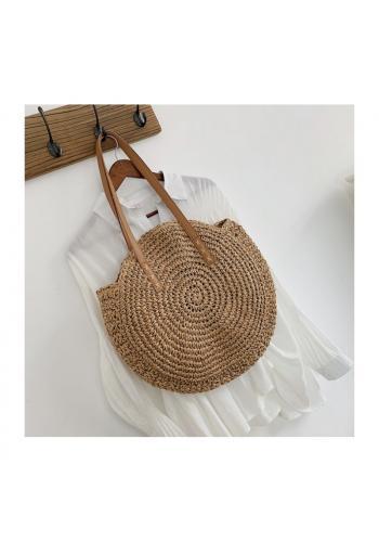 Kulatá proutěná kabelka hnědé barvy