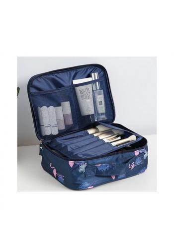 Kosmetická dámská taška modré barvy s plameňáky a květinami