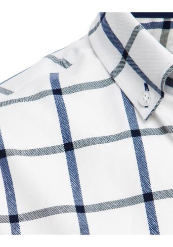 Bílá kostkovaná košile s krátkým rukávem pro pány