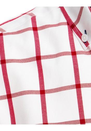 Kostkovaná pánská košile bílé barvy s krátkým rukávem