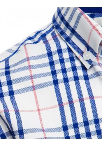 Pánská kostkovaná košile s krátkým rukávem v bílé barvě
