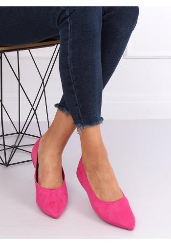 Růžové semišové balerínky pro dámy