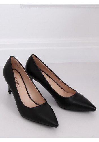 Matné dámské lodičky černé barvy na nízkém podpatku