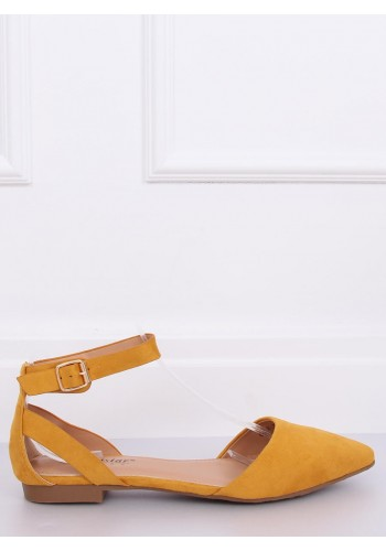 Žluté semišové balerínky se zapínáním pro dámy