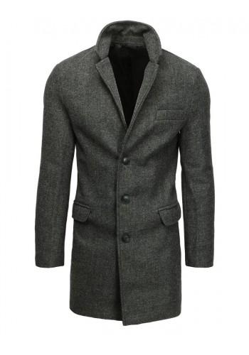 Jednořadý pánský kabát tmavě šedé barvy