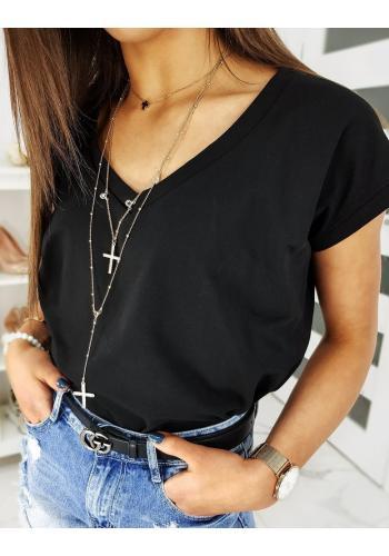 Dámské klasické tričko s výstřihem ve tvaru V v černé barvě