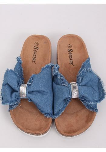 Světle modré plátěné pantofle s korkovou podrážkou pro dámy