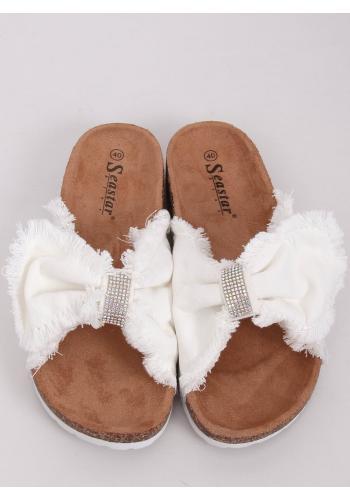 Dámské plátěné pantofle s korkovou podrážkou v bílé barvě