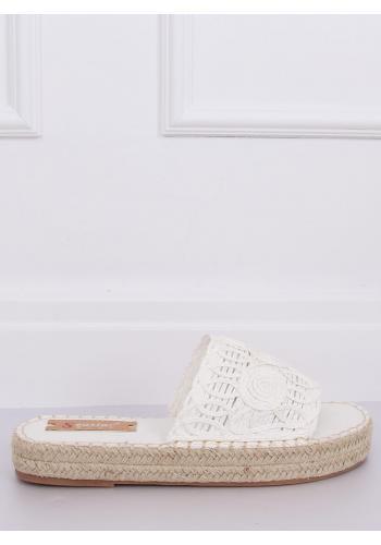 Bílé módní pantofle s vysokou podrážkou pro dámy