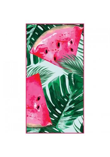 Barevný obdélníkový ručník na pláž s tropickým motivem