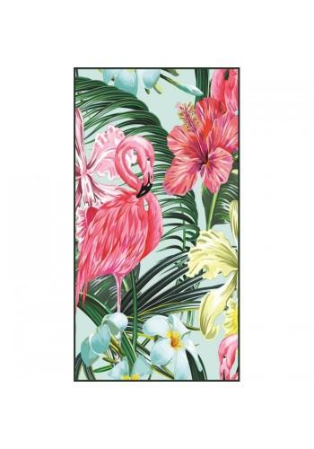 Obdélníkový plážový ručník s barevným tropickým motivem