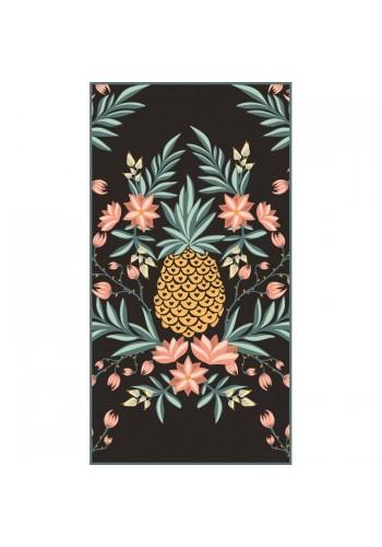 Černý obdélníkový ručník na pláž s motivem ananasu