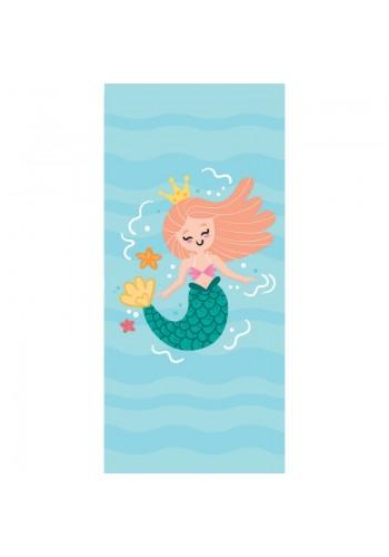 Modrý plážový ručník s motivem mořské panny