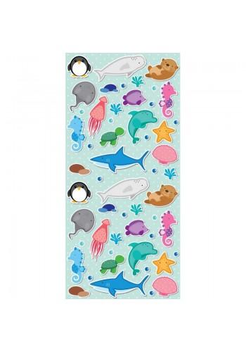 Zelený plážový ručník s motivem vodních zvířat