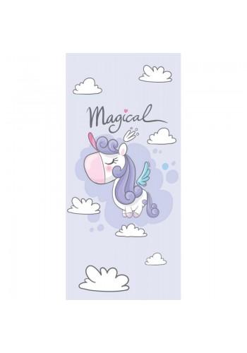 Plážový ručník světle fialové barvy s motivem jednorožce