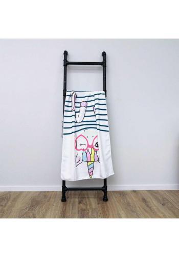 Plážový ručník bílé barvy s motivem jednorožce