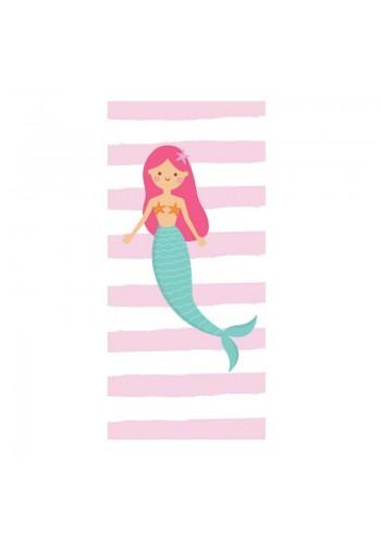 Růžovo-bílý plážový ručník s motivem mořské panny
