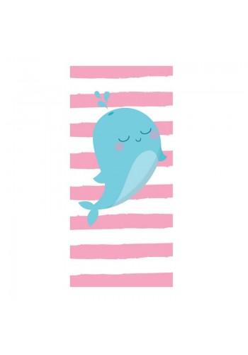 Plážový ručník růžovo-bílé barvy s motivem velryby
