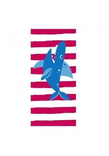 Plážový ručník červeno-bílé barvy s motivem žraloka