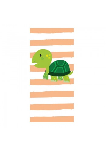 Oranžovo-bílý plážový ručník s motivem želvy