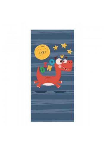 Tmavě modrý plážový ručník s motivem dinosaura