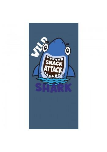 Plážový ručník tmavě modré barvy s motivem žraloka