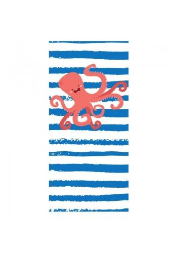 Plážový ručník modro-bílé barvy s motivem chobotnice