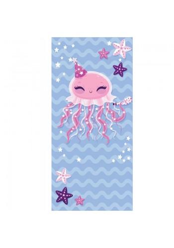 Modrý plážový ručník s motivem medúzy