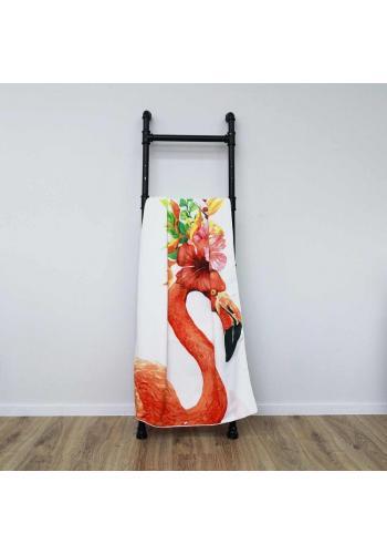 Bílý plážový ručník s motivem plameňáka